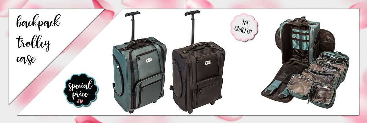 Professional Backpack Make Up Case With Wheels Foxy KC-0046